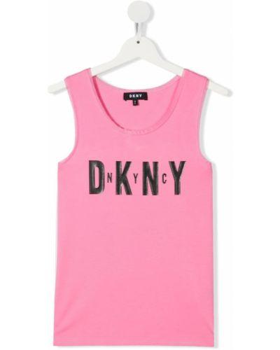 Хлопковая черная жилетка без рукавов Dkny Kids