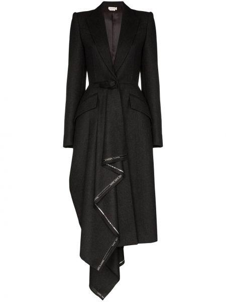Шерстяное серое пальто с воротником на пуговицах Alexander Mcqueen