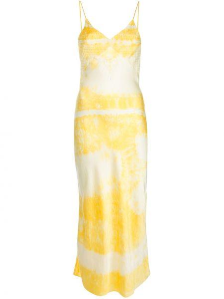 Żółta sukienka z jedwabiu z printem Dannijo