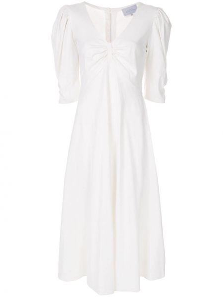 Плиссированное с рукавами белое платье миди Luisa Beccaria