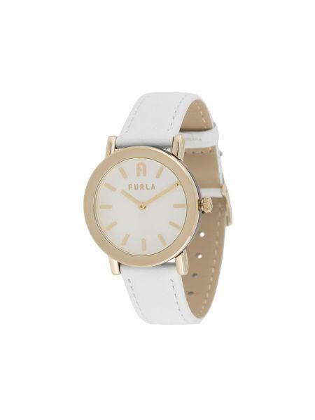 Biały zegarek okrągły z prawdziwej skóry Furla
