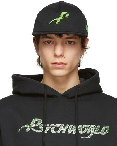 Czarna czapka bawełniana z haftem Psychworld