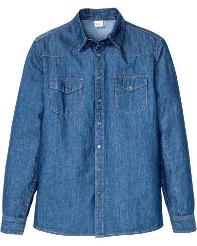 Синяя джинсовая рубашка с карманами Bonprix