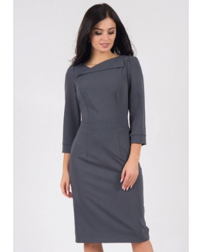 Деловое платье серое осеннее Grey Cat