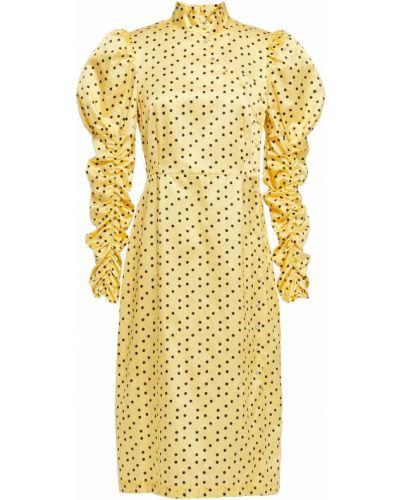 Желтое шелковое платье с оборками Shrimps
