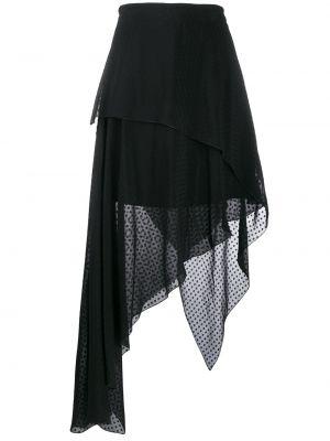Черная с завышенной талией юбка миди в рубчик на молнии Amiri