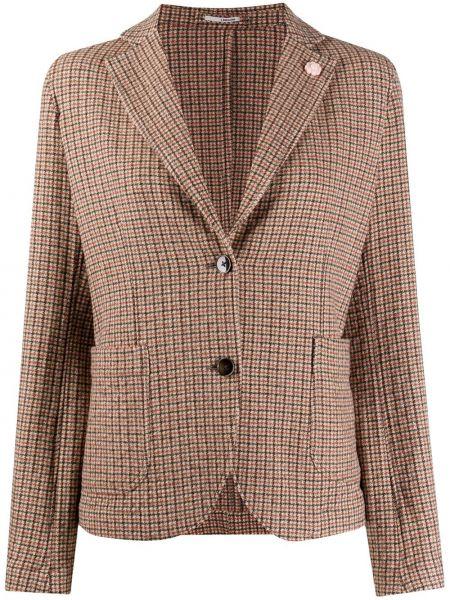 Шерстяной коричневый удлиненный пиджак с накладными карманами Lardini