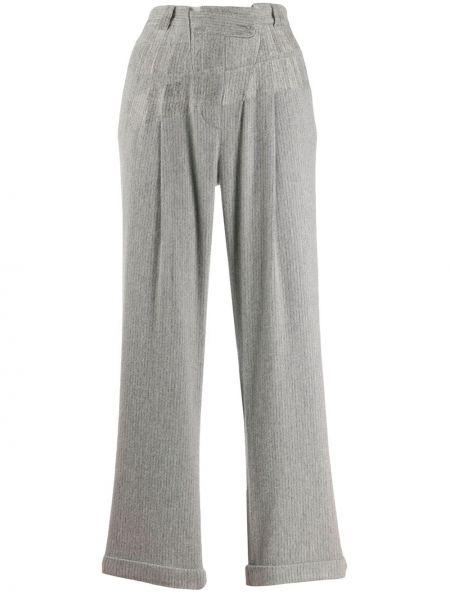 Шерстяные серые брюки с поясом с потайной застежкой Maison Martin Margiela Pre-owned