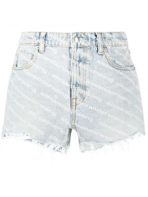 Хлопковые синие классические джинсовые шорты на молнии T By Alexander Wang