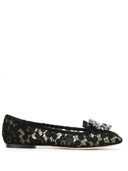 Кожаные черные балетки с тиснением на плоской подошве Dolce & Gabbana