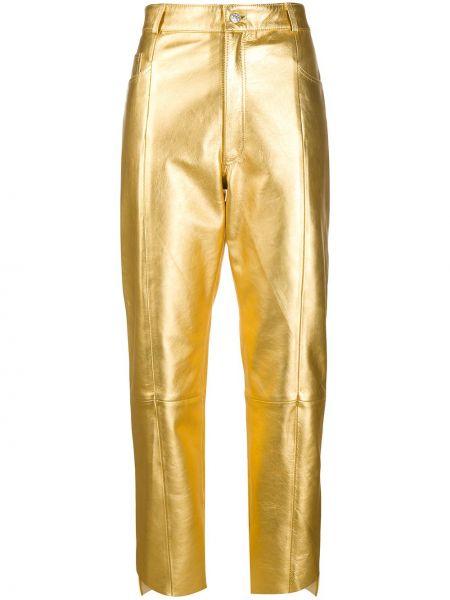 Желтые кожаные укороченные брюки с карманами Manokhi