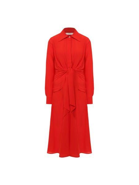 Красное шелковое платье Victoria Beckham