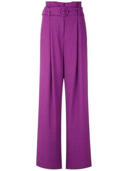 Прямые фиолетовые свободные брюки со складками с высокой посадкой Reinaldo Lourenço