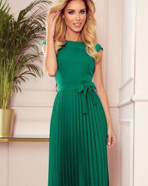 Zielona sukienka z paskiem materiałowa Numoco