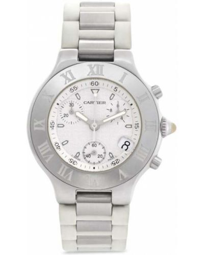 Пуховые серебряные кварцевые часы круглые Cartier