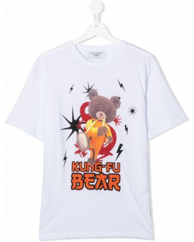 Белая хлопковая футболка с круглым вырезом круглая Neil Barrett Kids