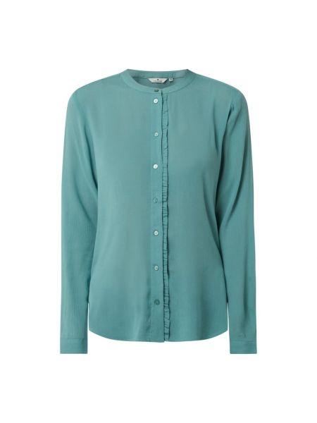 Bluzka z falbanami z wiskozy turkusowa Tom Tailor