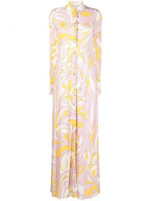 Розовое платье макси с воротником на пуговицах Emilio Pucci