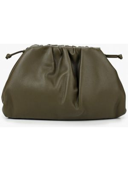 Кожаная сумка с перьями хаки из натуральной кожи Marco Bonne