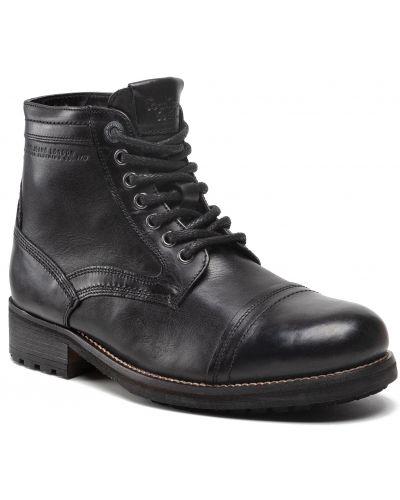 Kozaki skórzane - czarne Pepe Jeans