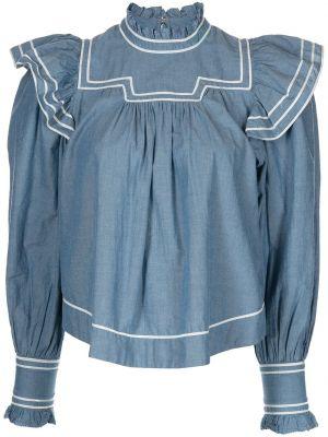 Хлопковая блузка - синяя Ulla Johnson