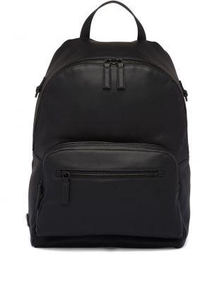 Z paskiem czarny plecak z prawdziwej skóry na paskach Prada