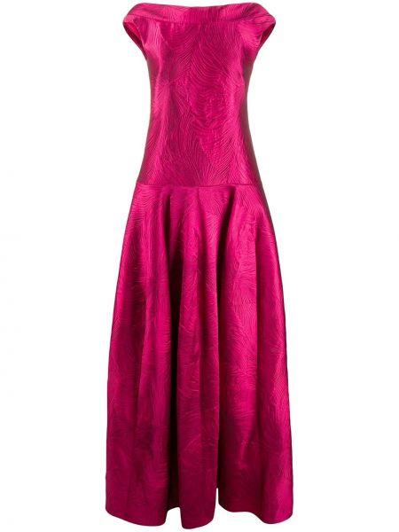 Приталенное розовое платье из органзы с воротником Talbot Runhof