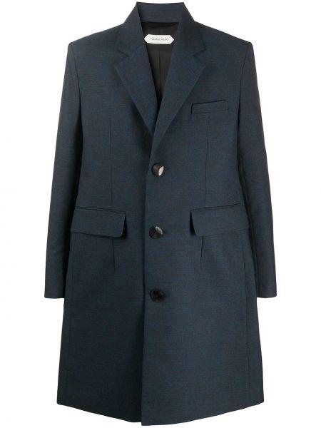 Синее однобортное шерстяное длинное пальто на пуговицах Namacheko
