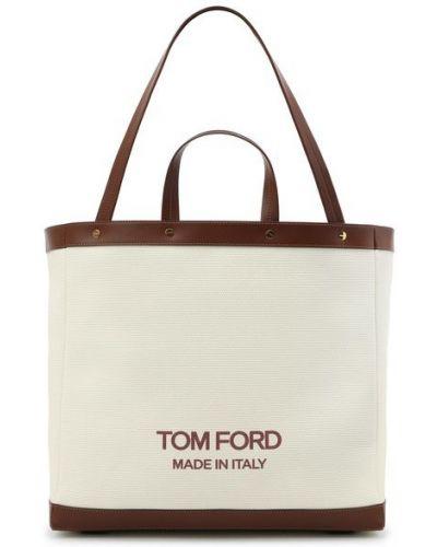 Кожаная сумка шоппер - белая Tom Ford