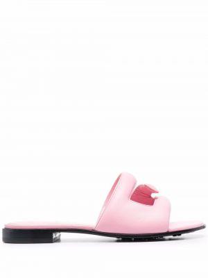 Sandały skórzane na obcasie - różowe Givenchy