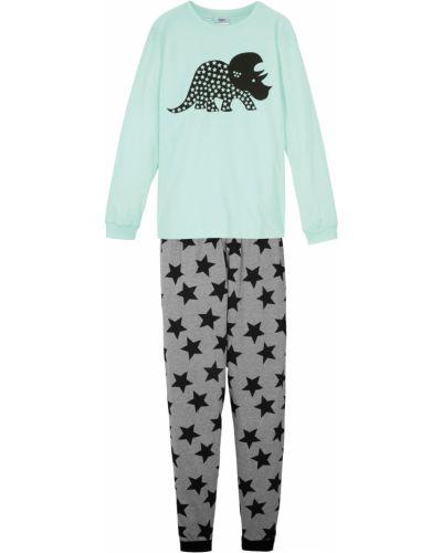 Пижамная зеленая с рукавами пижама с брюками Bonprix
