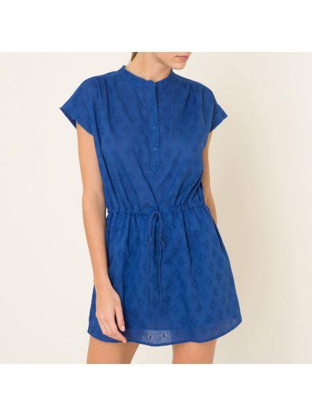 Плиссированное платье мини с вышивкой на пуговицах с воротником Hartford