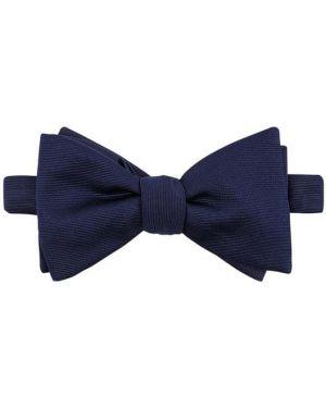 Niebieska mucha z haftem z jedwabiu Eton Slim Fit