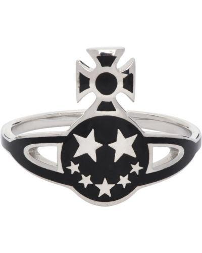 Czarny pierścionek srebrny Vivienne Westwood