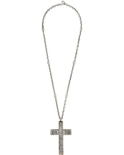 Серебряный крест для полных Gucci