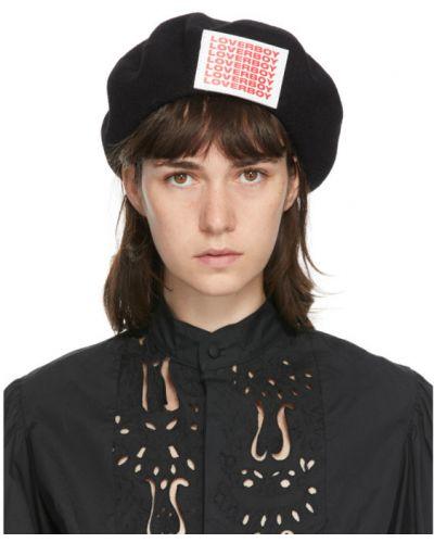 Czarny beret wełniany z haftem Charles Jeffrey Loverboy