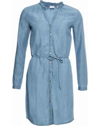 Джинсовое платье платье-рубашка с поясом Bonprix