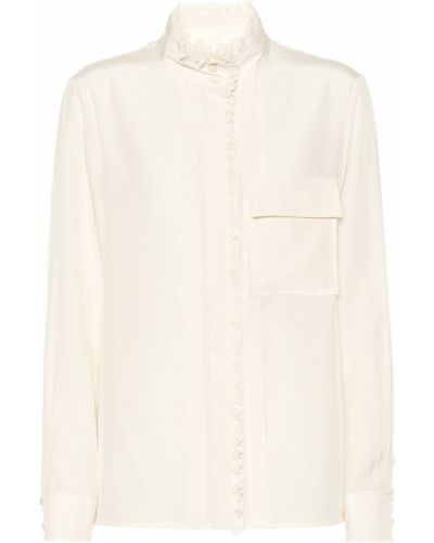 Jedwab beżowy bluzka z kołnierzem zabytkowe Chloã©