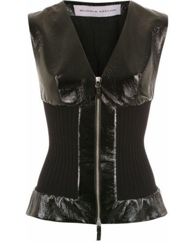 Черное пальто с капюшоном без рукавов Gloria Coelho