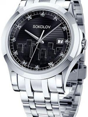 Кварцевые часы черные с круглым циферблатом Sokolov