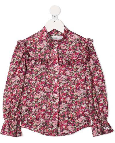 Розовая с рукавами блузка с воротником Philosophy Di Lorenzo Serafini Kids