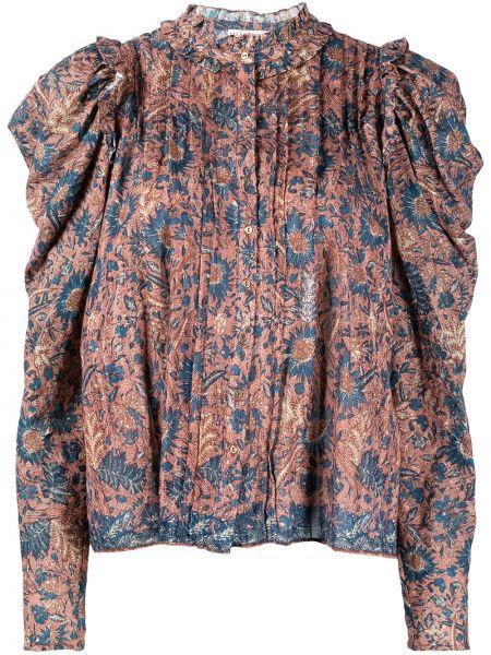Niebieska bluzka z długimi rękawami z wiskozy Ulla Johnson