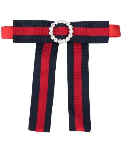 Красный шелковый бантик с декоративной отделкой Gucci
