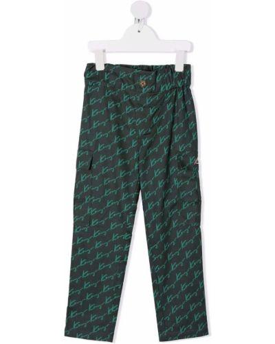 Zielone spodnie bawełniane z haftem Kenzo Kids