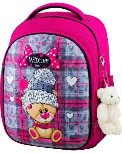 Розовый школьный ранец на бретелях на молнии Winner One