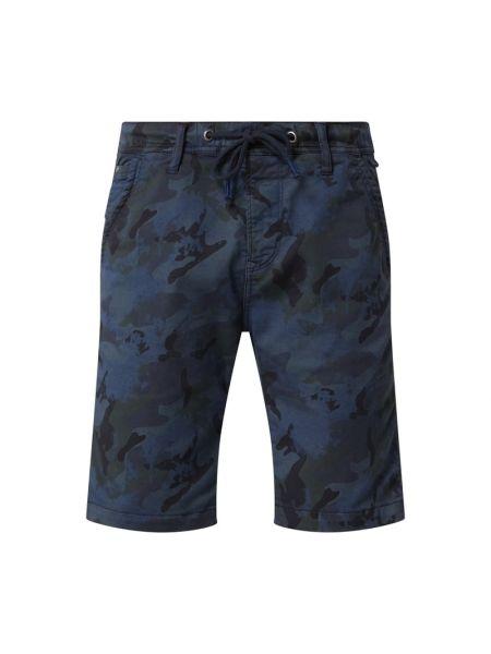 Bawełna niebieski dżinsowe szorty z paskami elastyczny Pepe Jeans
