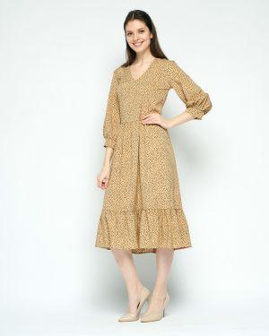 Шифоновое летнее платье с V-образным вырезом на молнии с рукавом 3/4 Fiato