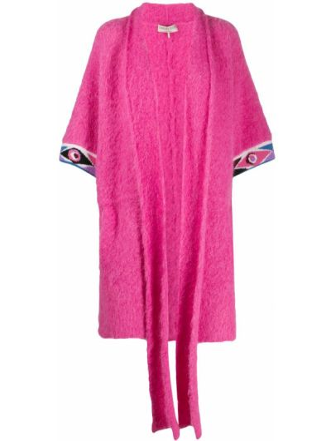 Розовое пальто с воротником с короткими рукавами Emilio Pucci