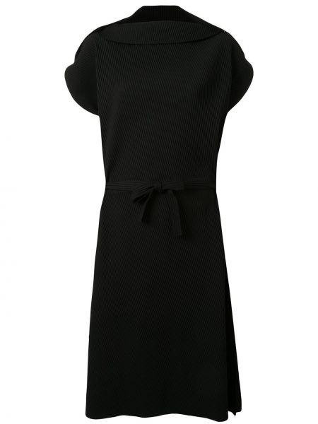 Черное платье мини оверсайз с вырезом с короткими рукавами Issey Miyake Cauliflower
