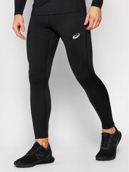 Czarne legginsy srebrne Asics